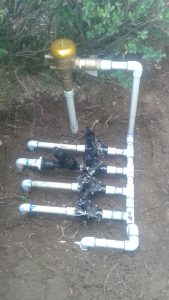 Newly installed valves before valve box